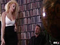 Babe Station X blonde enjoys his boner in the library