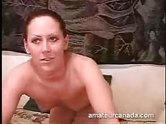 Milf with a ponytail is kneeling down to suck a hard dick