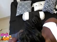 Ebony in white panties is taking my dick in her tight pussy