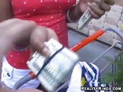 Elegant ebony is performing a good street blowjob