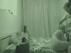 Fat daddy fucks a slender tanned girl on the hidden cam