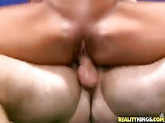Big-ass brunette is blowing his dick in the video by Milf Hunter