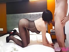 Nikki Fucked in Fishnet Lingerie til he covers her pussy with cum-Holiday#1