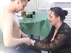 Fatty Russian milf is having a hot sex with a skinny man