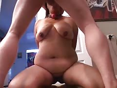 Old man fucks with a naughty cock-addicted BBW in the bedroom
