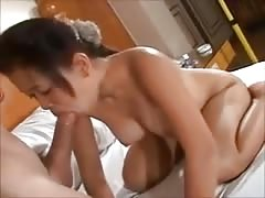 Filipina babe gets fucked by a real big dick and cum on tits