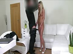Astonishing blonde is slowly blowing his massive dick in a hot pov video