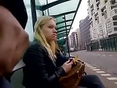 Crazy guy is showing his dick for a blonde at the bus station