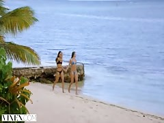 VIXEN Two Best Friends On Vacation Sneak Into DJs House For Wild Threesome
